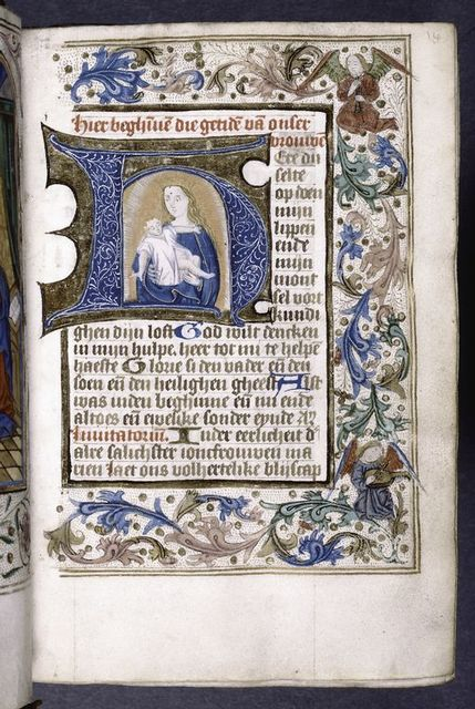 Opening of main text.  Initial with illumination (Virgin and Child), full border with angel figures.  Rubrics, small initials, placemarkers.