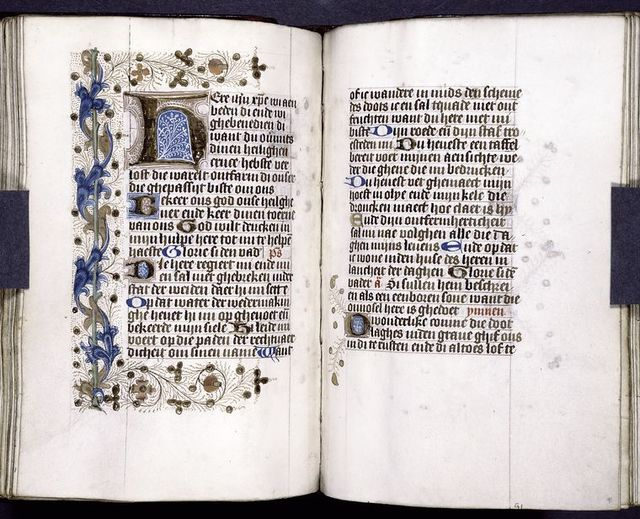 Pages of text with various initials and border designs.