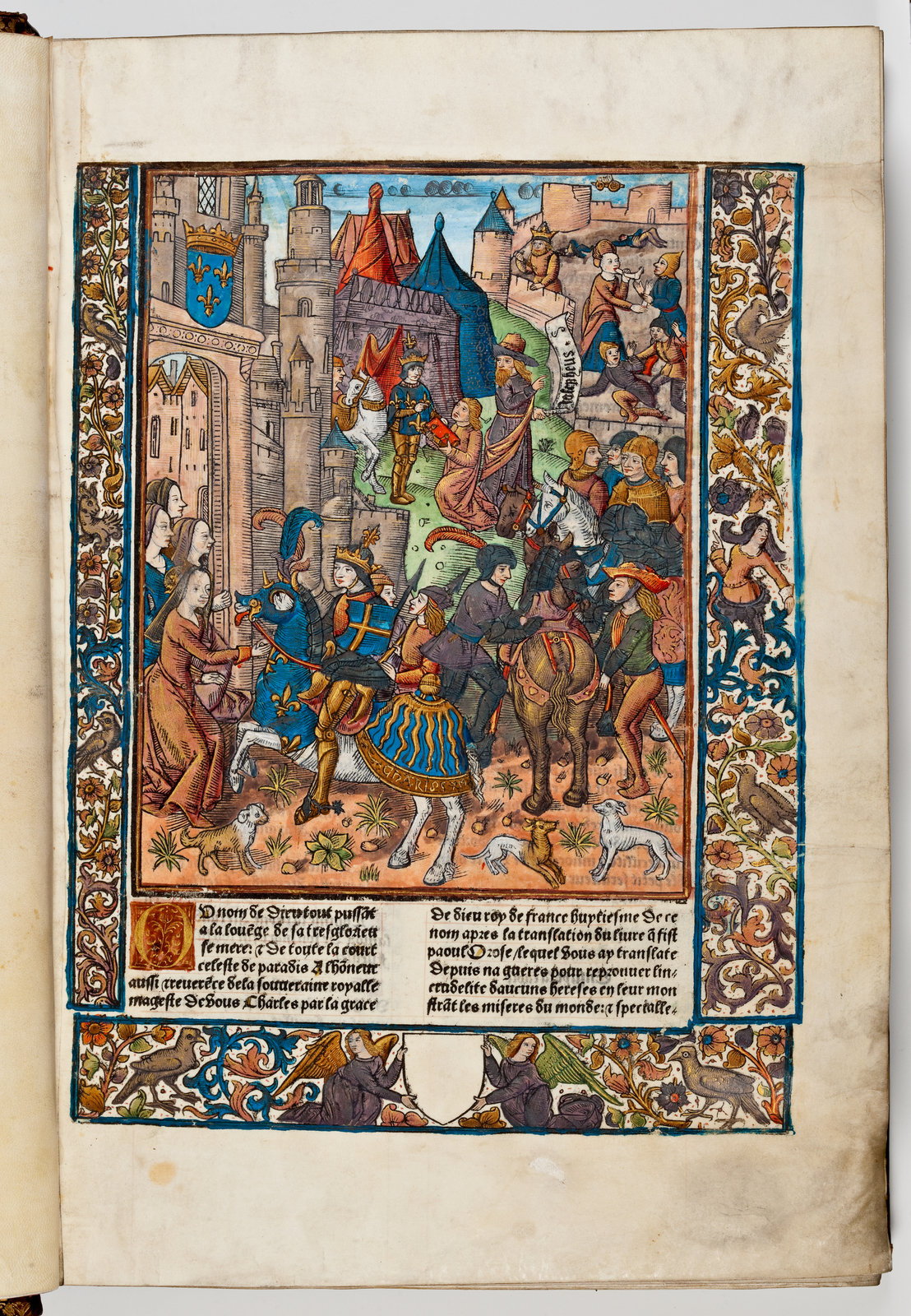 The printer, Anthoine Vérard, kneeling center, presents his book to the king of France, Charles VIII (1492). Behind Vérard, Josephus (died circa 93 CE), holding a scroll with his name on it to identify him as the author, looks on approvingly. Behind Josephus, a scene of mayhem typical of The Jewish War plays itself out. In the foreground, a mounted King Charles enters Paris, and, center right, Charles's servants hold his horse while he receives the book from Vérard.
