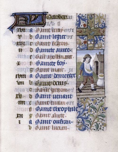 Calendar page with image of seasonal activity.