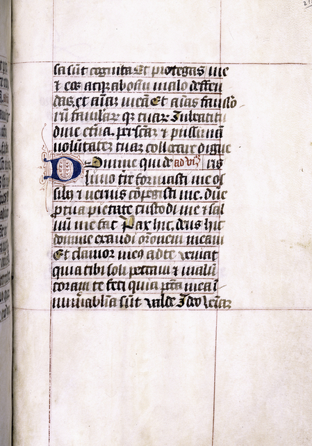 Example of different style of decoration prevalent at end of codex.  Blue initial with red penwork, yellow daubs as placemarkers.
