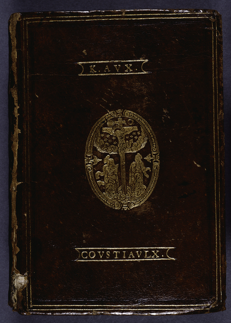 K. Avx  Covstavlx. stamped into front cover along with image of the Crucifixion.