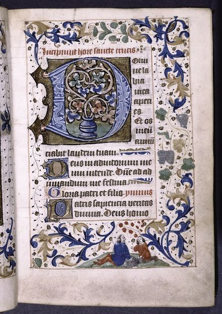 Large initial, hand 2, border design, opening of main text, initials, rubrics and linefillers, placemarkers.