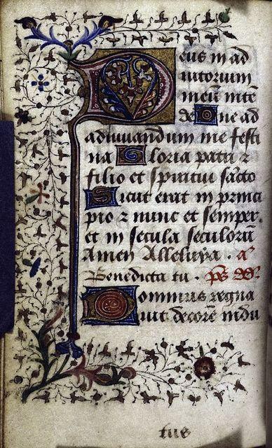 Main hand (hand 3), initials, border decoration, rubrics, catchword.