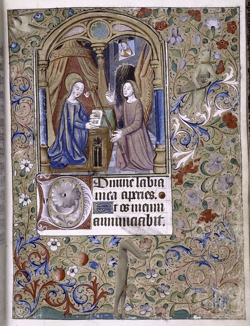 Miniature of Annunciation.  Figure of monkey and cat playing a musical instrument in border.  Initials.