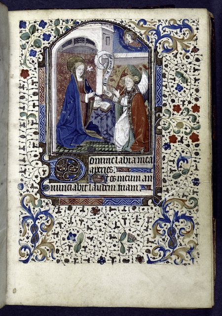 Miniature of Annunciation, initials, linefillers, and border design.