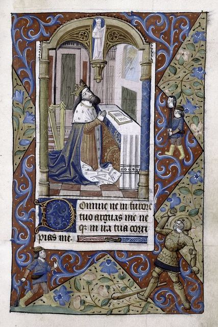 Miniature of David, with scene of killing of Goliath in margin.