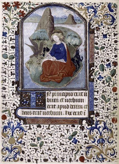 Miniature of John the Evangelist, 3-line blue initial, border design.  Main hand (hand 1).