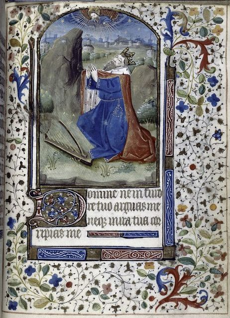 Miniature of King David, border design, initial and linefiller