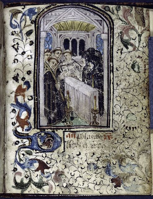 Miniature of mass for the dead.  Full border decoration, initial, rubric.