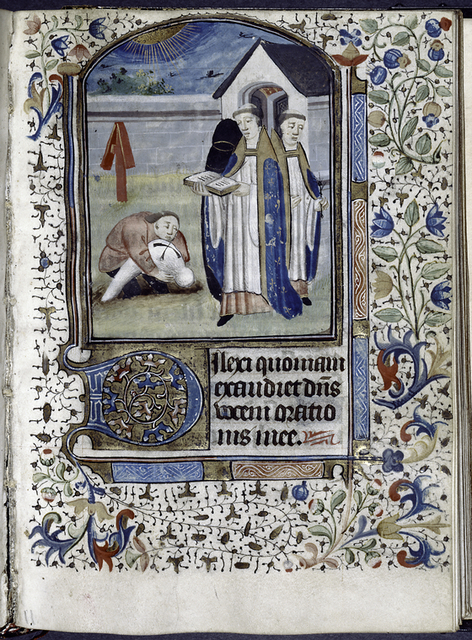 Miniature of mass for the dead?  Large initial, border decoration.