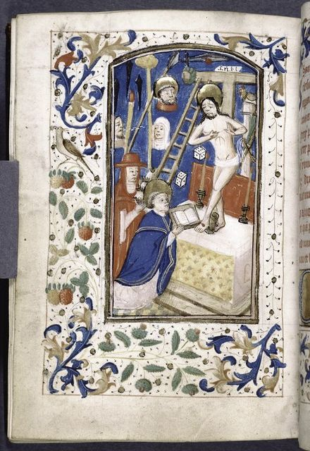 Miniature of mass with Christ and instruments of crucifixion.  Border design.