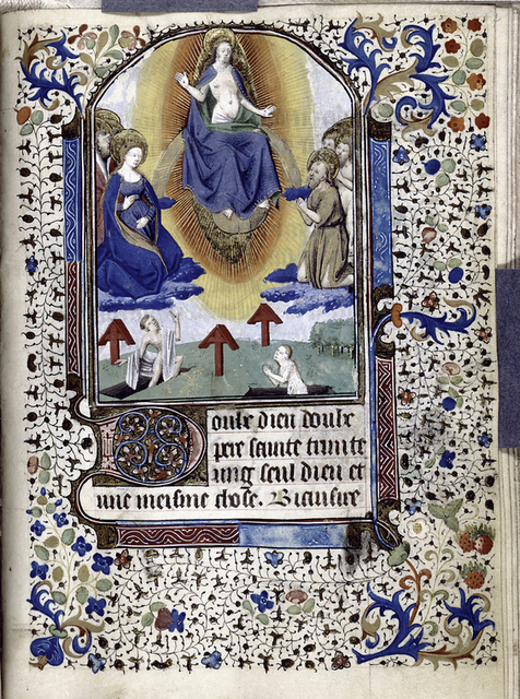 Miniature of Resurrection, initial, French text.