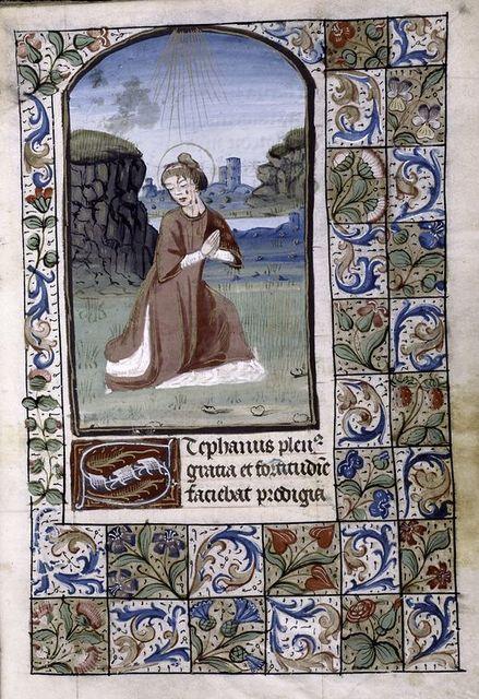 Miniature of St. Stephen, large white initial, full border design.