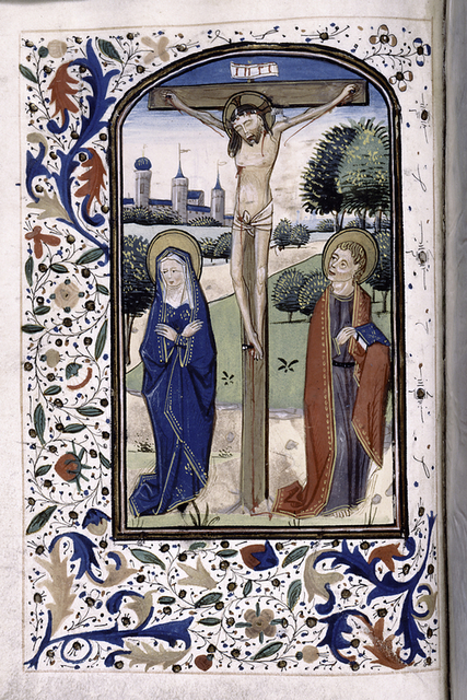 Miniature of the Crucifixion, and border decoration.