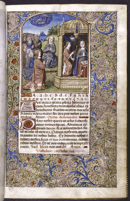 """Opening of a primer: alphabet, Ave Maria, Pater Noster, and rubric for the creed. Miniature of Jesus teaching the twelve apostles to pray the """"Our Father""""; Annunciation."""