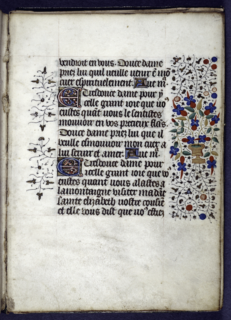 Opening of French section, in mid-sentence.  Initials and border design.