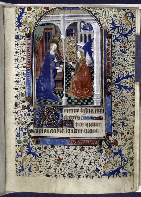 Opening of main text, miniature of Annunciation with border decoration, initials and linefiller.