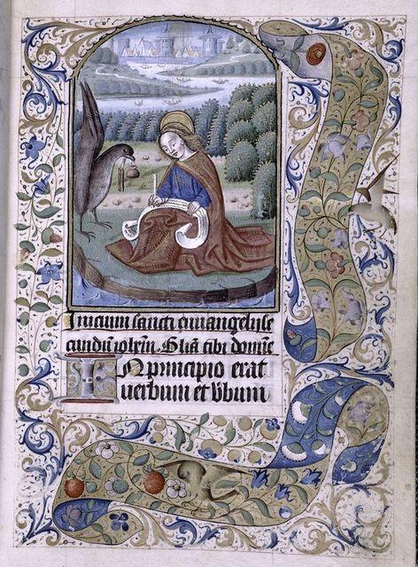 Opening of main text, miniature of John Evangelist.  Initial, border design.