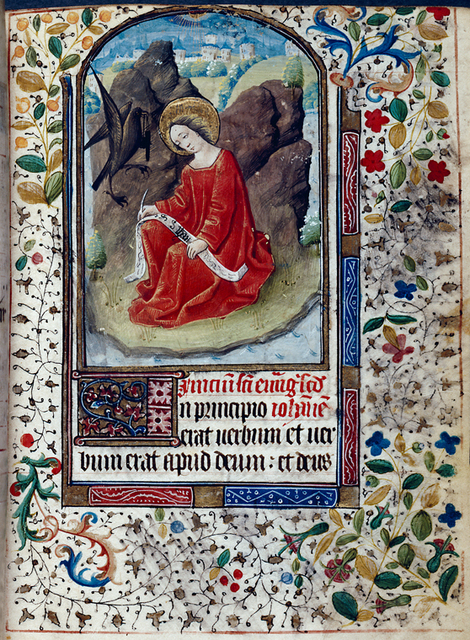Opening of main text, miniature of John the Evangelist, border design, 3-line initial, rubric.