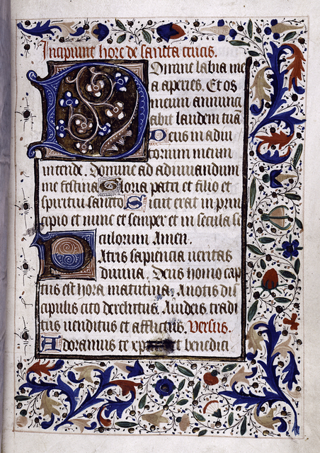 Opening of main text, rubric, initials, border design.