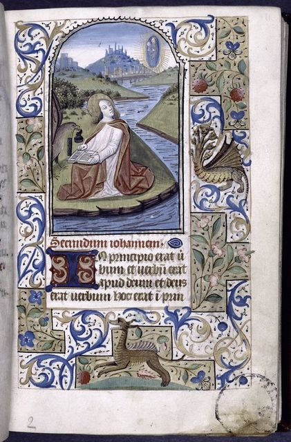 Opening of main text with miniature of John the Evangelist and border decoration with grotesque and animal, initial, rubric, linefiller.