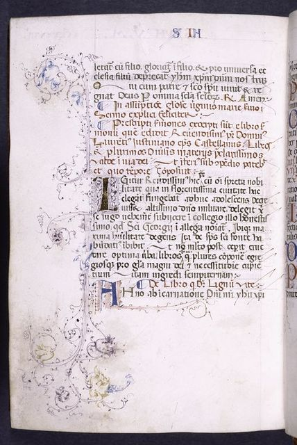 Opening of tabula with initials, penwork, and sentence markers.