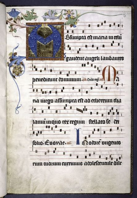 Opening of text.  4-line initial on gold field, in many colors, with decoration extending into border.  2-line red and blue initials.  Rubrics.  Music.