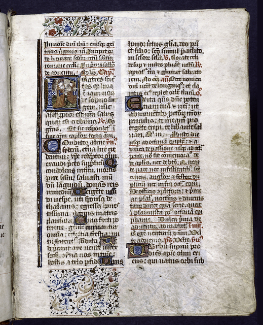 Opening of text, illuminated initial, 2-line and 1-line initials, partial border design, rubrics and placemarkers.