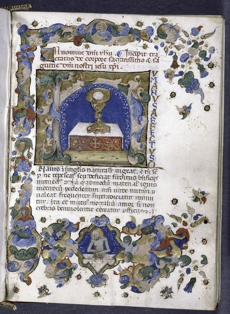 Opening of text, with miniature of consecrated host in a chalice, and with elaborate border design.
