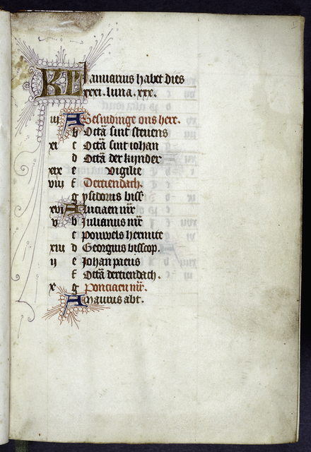 Opening page of calendar; written in Latin and Dutch?.