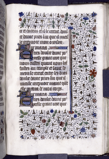 Page of French text with initials, linefillers, and border design.