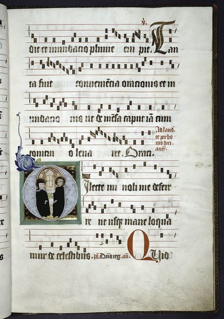 Page of music.  Large initial with figures of monk and nun.