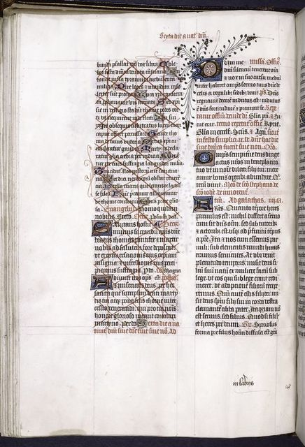 Page of text, medium and small initials, penwork in border, interesting cross-out.