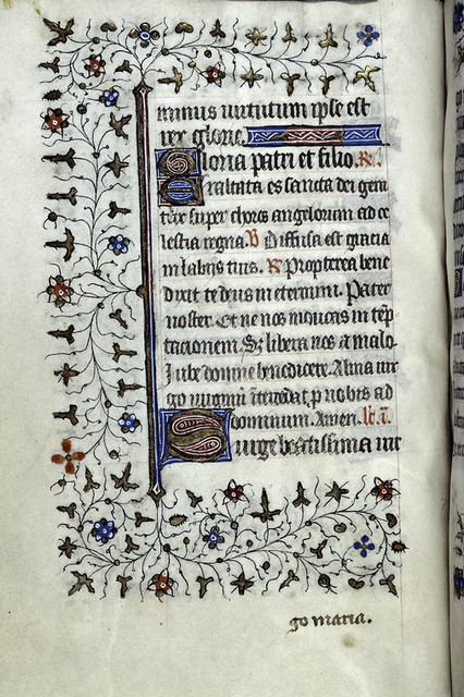 Page of text with initials, rubric, linefillers, border design, catchwords.