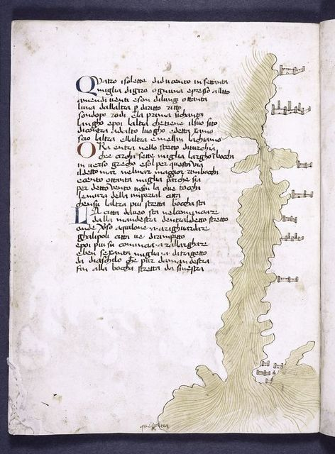 Page of text with map and catchword.