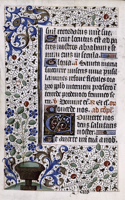 Page of text with rubrics, initials, linefillers and catchword.  Border design.
