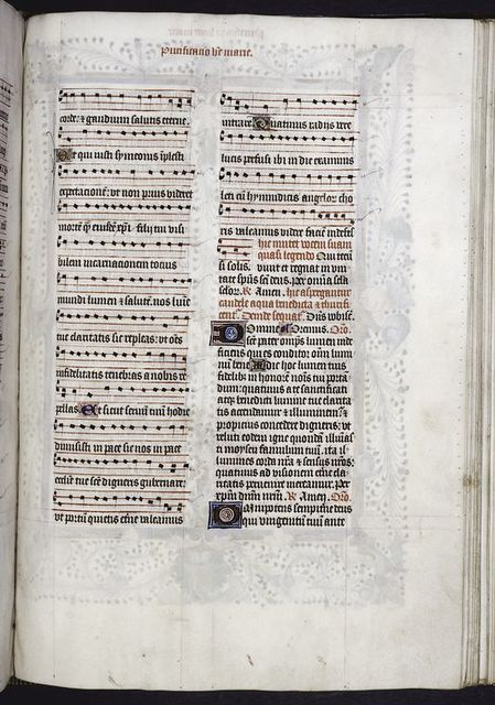 Page with music.  Initials, rubrics and placemarkers; prickings clearly visible.