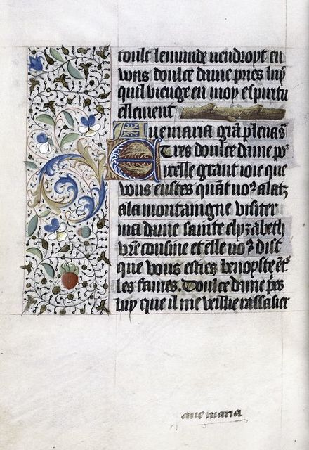 """Text with """"branch"""" linefiller, initials, catchword, border design."""