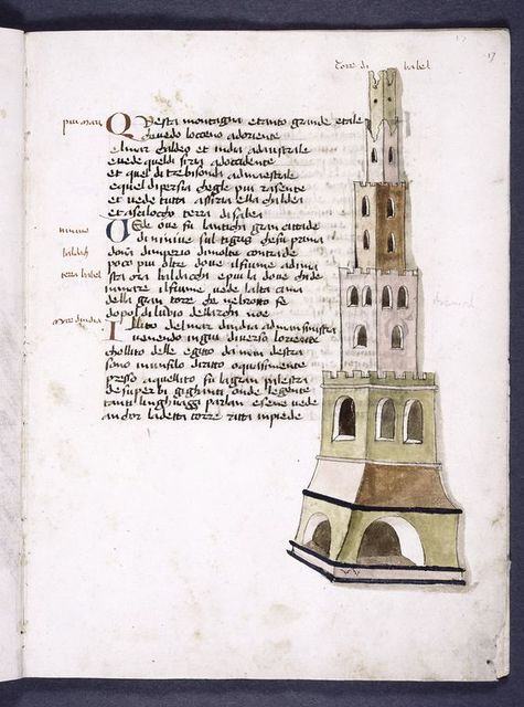 Text with drawing of tower of Babel.