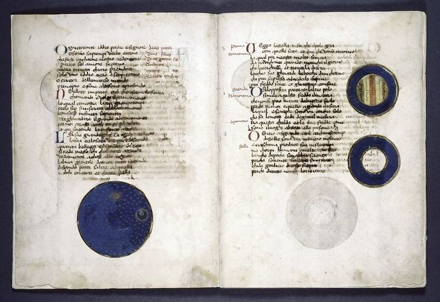 Text with three charts in gold, blue, and other colors.  Red and blue initials, rubrics.
