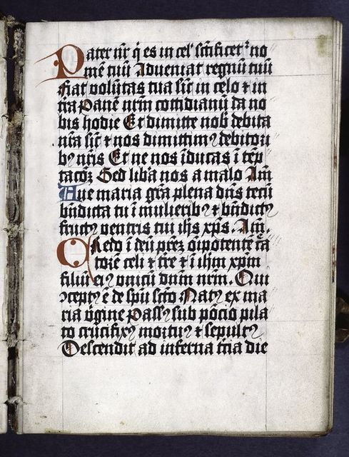 First page of text, with red and blue initials and placemarkers.