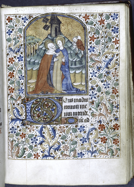 Miniature of the Visitation; initials, border.