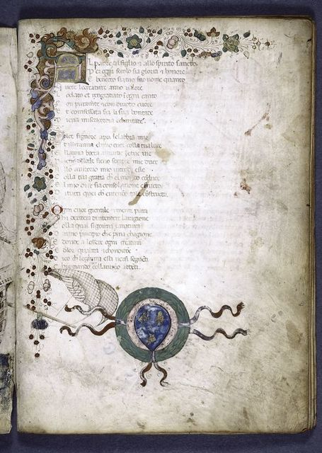 Opening of text, 3-line initial and painted border design.  1-line initials and coat of arms.