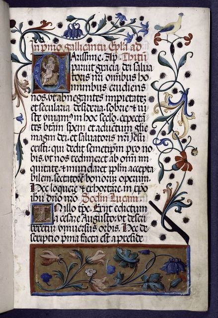 Opening of text, hand 1, initial with illumination, elaborate border design.