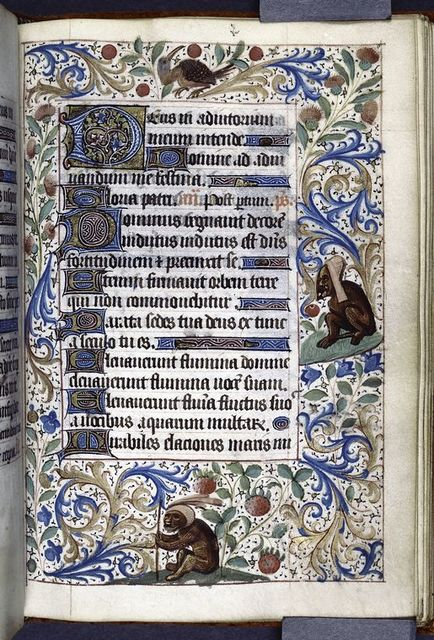 Various sizes of initials, rubrics, linefillers, full border with grotesques.
