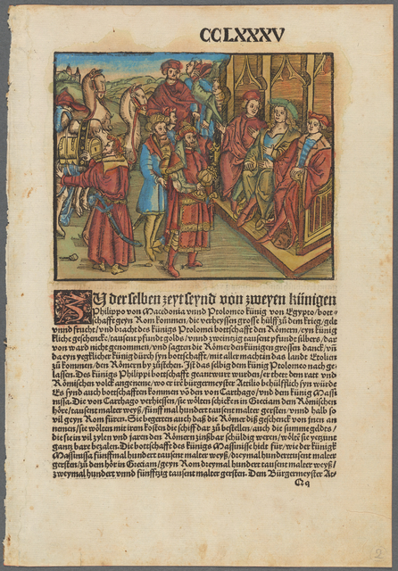 Double-sided page [fol. CCLXXXV, {Zy?} derselben zeyt leynd von zweyen künigen Philippo von Macedonia unnd Ptolomeo künig von Egypto... (King Philip of Macedonia and Ptolemy of Egypt)]