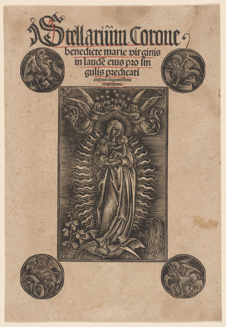 Madonna in Glory with the Symbols of the Evangelists [frontispiece of Stellarium Carone benedicte Mariae Virginis]