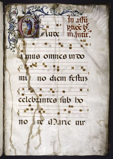 Opening of text, large initial showing the Assumption, border design, music.