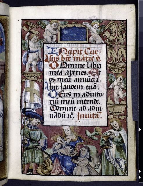 Opening of text with elaborate border. Border includes kneeling Dominican nun, the book's patron, before the Virgin and Child, with Sts.George and John the Evangelist; erased plaque in the upper margin may have held the nun's name.